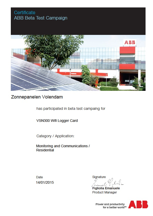 ABB beta testcertificate
